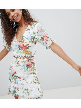 Parisian Petite Floral Dress With Lattice Inserts - White