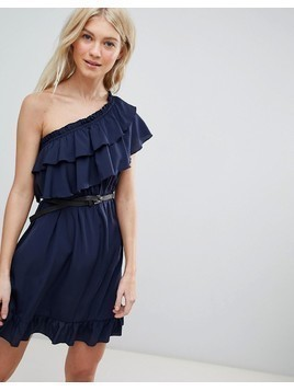 Vero Moda One Shoulder Ruffle Dress - Navy