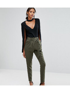 Lavish Alice Tall Tapered Trouser With Double Buckle Detail - Green