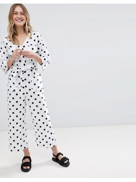 Monki Polka Dot Tie Waist Jumpsuit - Multi
