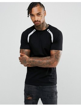 ASOS Muscle Raglan T-Shirt With Reflective Zip Tape - Black