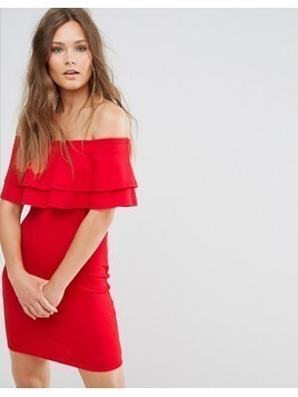 New Look Frill Bardot Bodycon Dress - Red