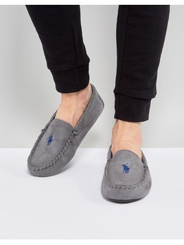 Ralph Lauren Dezi Moccasin Slippers - Grey