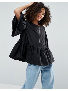 ASOS Premium Smock Top With Oversized Ring Pull - Black