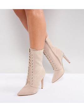 Truffle Collection Wide Fit Stud Heel Lace Up Boot - Beige