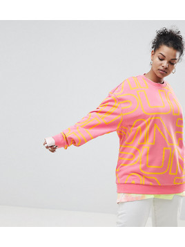 Puma Exclusive To ASOS Plus Sweatshirt With All Over Logo In Pink - Pink