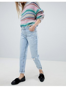 Bershka High Waisted Mom Jean - Blue