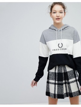 Fred Perry Wreath Logo Panel Hoodie - Black