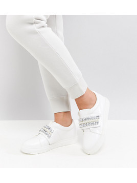 ASOS DARLA Wide Fit Embellished Trainers - White