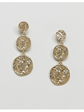 Pieces Hammered Gold Plated Disc Earrings - Gold