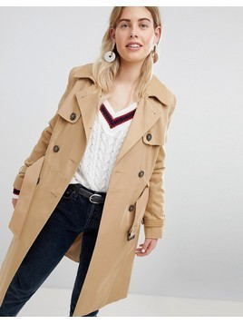 New Look Structured Mac Trench Coat - Stone