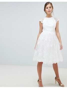 Chi Chi London Premium Lace Midi Dress - White