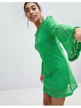 PrettyLittleThing Lace Bell Sleeve Bardot Dress - Green