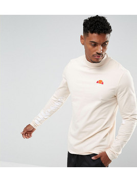 Ellesse Muscle Fit Long Sleeve T-Shirt With Sleeve Print In Stone - Grey