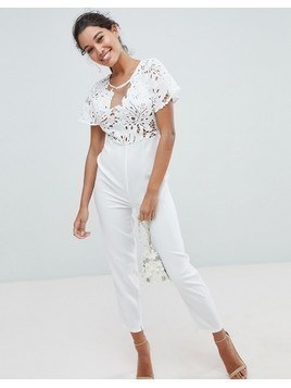 Love Triangle Lace Jumpsuit - White