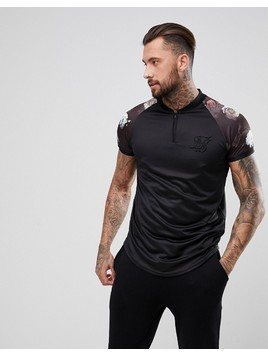 SikSilk Retro Muscle T-Shirt In Black With Floral Sleeves - Black