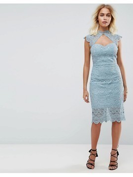 Chi Chi London Crochet Lace Midi Pencil Dress with Scalloped Back - Grey