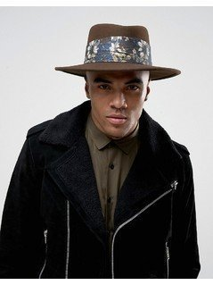 ASOS Wide Brim Pork Pie Hat With Floral Band - Brown