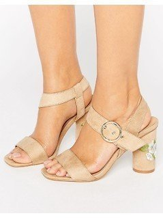 Truffle Colleciton Embroidery Heel Sandal - Beige