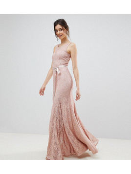 City Goddess Tall Lace Maxi Dress With Satin Belt - Pink