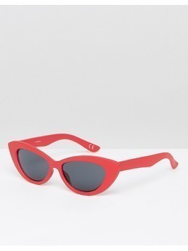 ASOS DESIGN small pointy cat eye sunglasses - Red