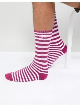 Obey Dale Striped Socks In Magenta - Purple