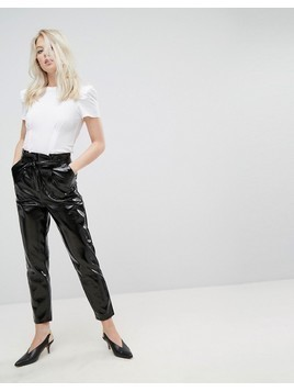 Miss Selfridge Paper Bag High Waisted Vinyl Trouser - Black