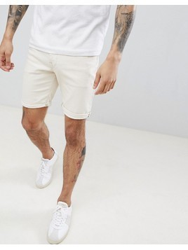 Selected Homme Denim Shorts In White - White