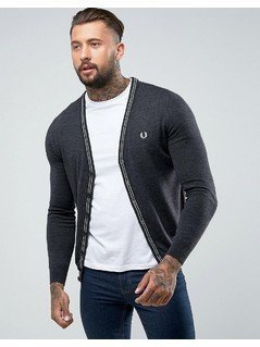 Fred Perry Fine Merino V Neck Cardigan in Grey - Grey