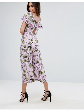 ASOS Jumpsuit with Twist back and Frill Detail in Floral Print - Pink