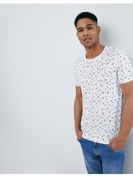 Selected Homme T-Shirt With All Over Ditsy Print - White