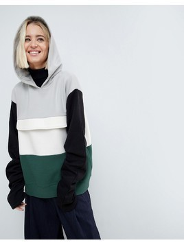 ASOS WHITE Colourblock Sweat Top With Ruched Sleeves - Multi