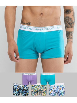 River Island Trunks In Bird Of Paradise Print 5 Pack - Blue