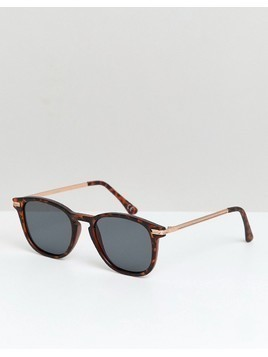ASOS DESIGN square sunglasses in matte tort with gold metal details & smoke lens - Brown