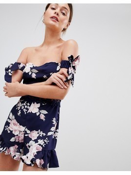 Parisian Off Shoulder Floral Playsuit With Crochet Trim - Navy