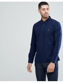 Farah Nolan Pop-Over Half Button Shirt In Indigo - Blue