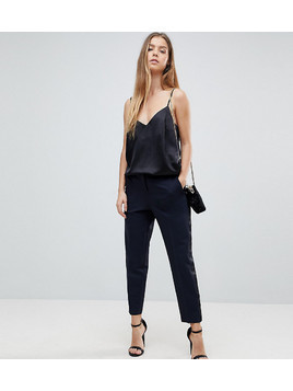 ASOS PETITE Premium Slim Tux Trouser with Grosgrain Trim - Navy