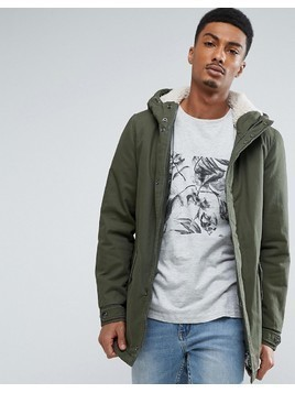 Only&Sons Parka With Borg Lining - Green