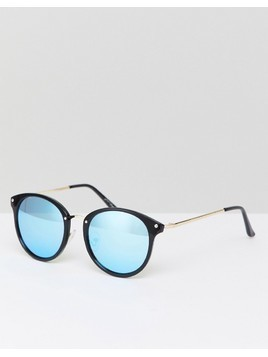 Jeepers Peepers Round Sunglasses In Black/Gold - Black