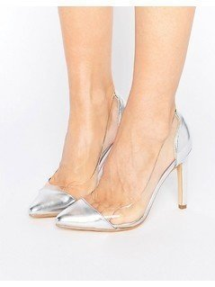 Truffle Collection Clear Upper Heel Shoe - Silver