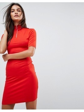 ASOS Bodycon Dress with High Neck and Zip Detail - Red