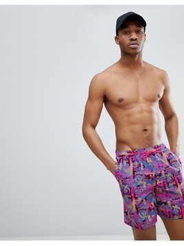 ASOS DESIGN Swim Shorts With Bright Aztec Print In Mid Length - Multi