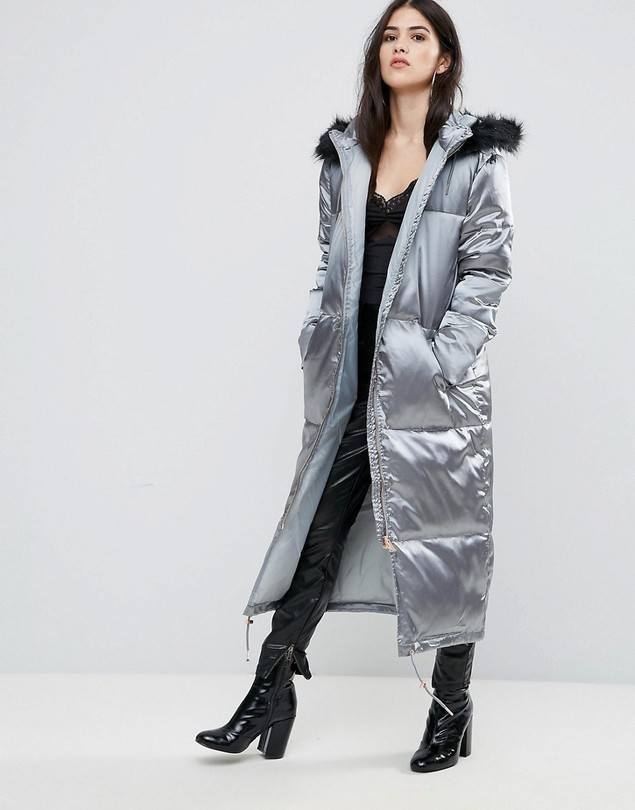 Missguided Grey Longline Satin Padded Coat - Green
