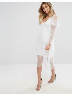 River Island Mesh Ruffle Midi Dress - Cream