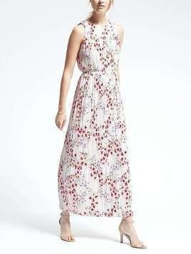 Banana Republic Floral Pleated Maxi Dress - Snow day