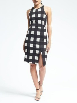 Banana Republic Gingham Bistretch Sheath Dress - Black