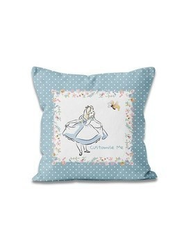 Alice in Wonderland Blue Dots Personalised Cushion