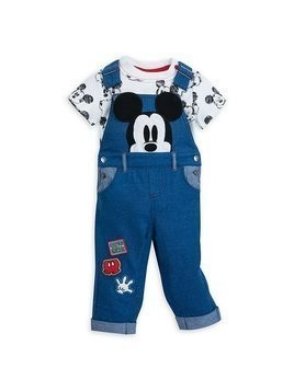 Disney Store Mickey Mouse Baby Dungaree and Body Suit Set - 0-3 Months