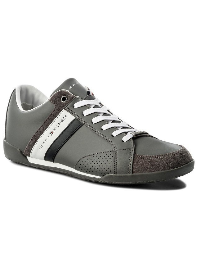 Sneakersy TOMMY HILFIGER - Corporate Material Mix Cupsole FM0FM01532 Steel Grey 039