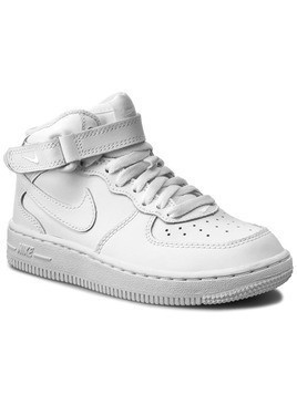 Buty NIKE - Force 1 Mid (PS) 314196 113 White/White/White